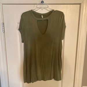 Olive green cotton top with key hole neck